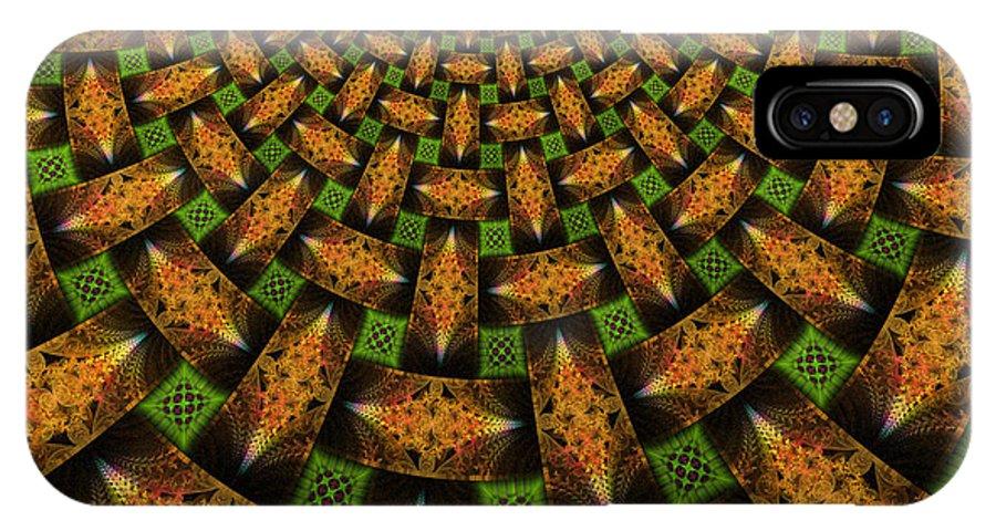 Elena Riim IPhone X Case featuring the digital art Pattern Brown With Green by Elena Riim