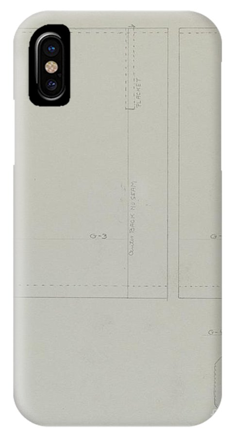 IPhone X Case featuring the drawing Pattern For A Dress by Bessie Forman
