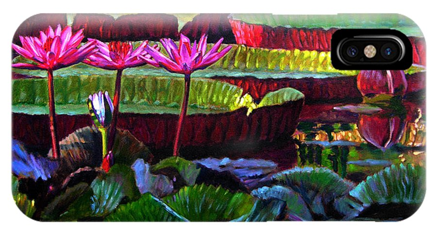 Water Lilies IPhone X Case featuring the painting Patterns Of Color And Light by John Lautermilch