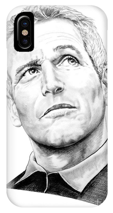 Paul Newman IPhone Case featuring the drawing Paul Newman by Murphy Elliott