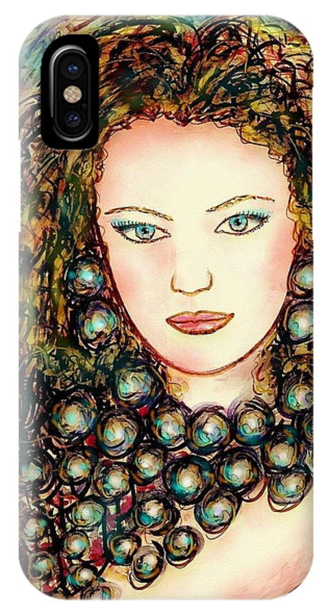 Woman IPhone X Case featuring the painting Paula by Natalie Holland