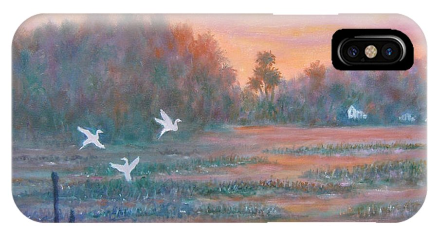 Low Country; Egrets; Sunset IPhone X Case featuring the painting Pawleys Island by Ben Kiger