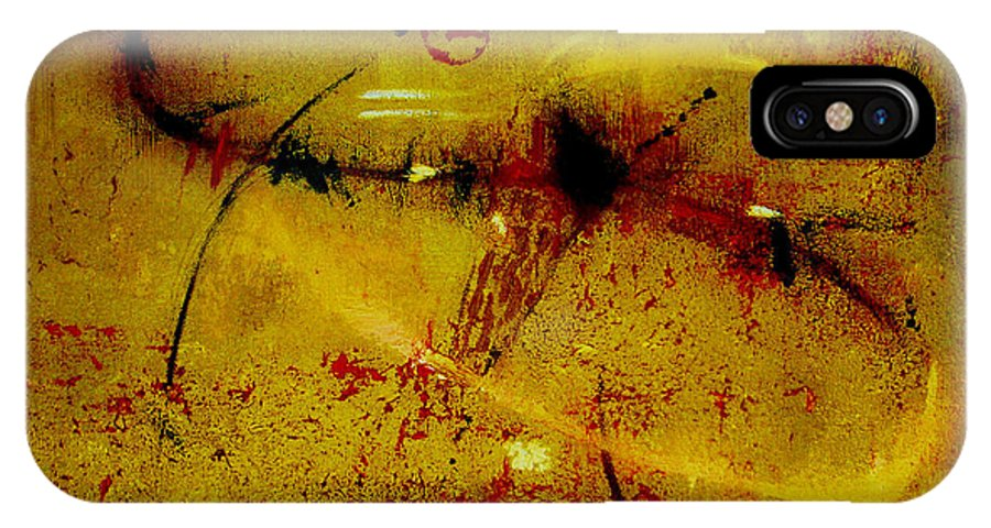 Abstract IPhone X / XS Case featuring the painting Pay More Careful Attention by Ruth Palmer