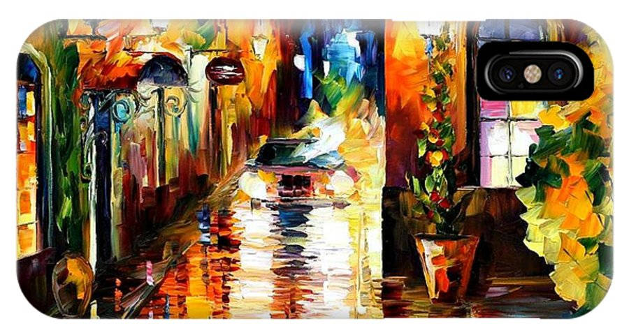 Afremov IPhone X Case featuring the painting Paying A Visit by Leonid Afremov