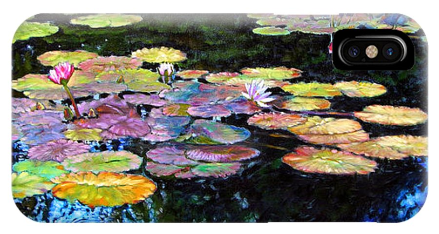 Water Lilies IPhone X Case featuring the painting Peace Among The Lilies by John Lautermilch