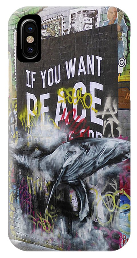 Graffiti IPhone X Case featuring the photograph Peace by Bruce