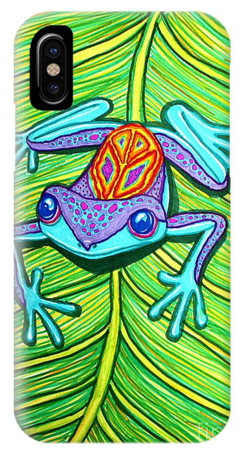 Peace Frog IPhone X Case featuring the drawing Peace Frog On A Leaf by Nick Gustafson