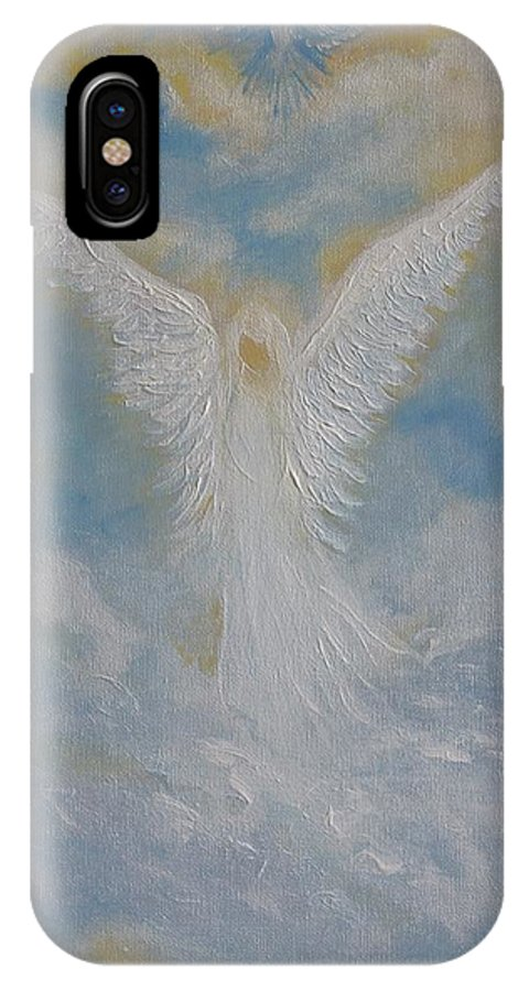 Angel IPhone X Case featuring the painting Peace From An Angel by Leslie Allen