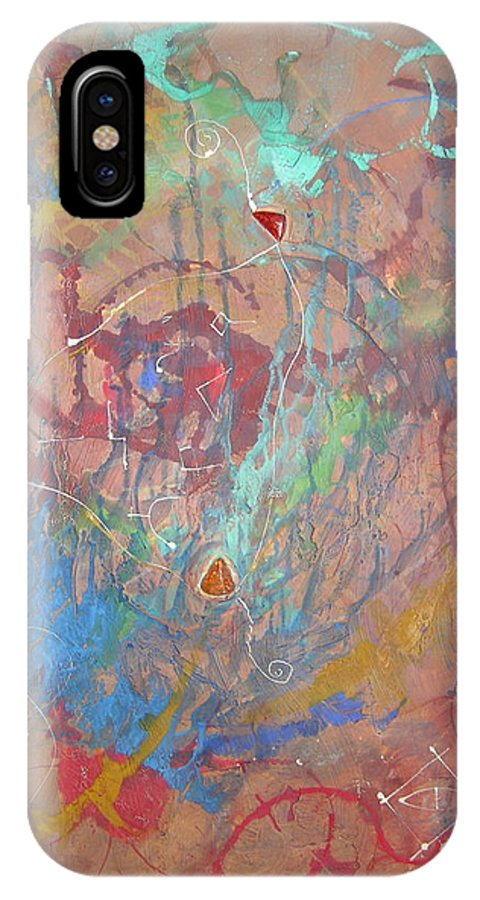 Modern IPhone X Case featuring the painting Peace In Motion by Frederic Payet