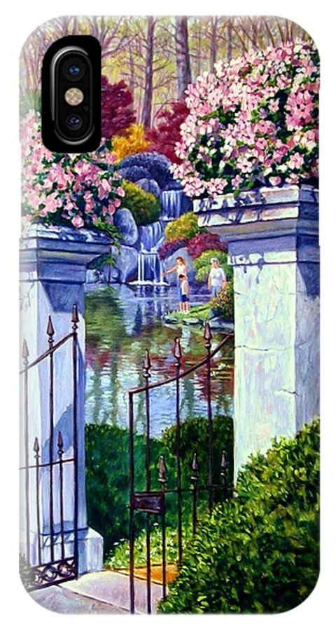 Garden Gates IPhone Case featuring the painting Peace In The Garden by John Lautermilch
