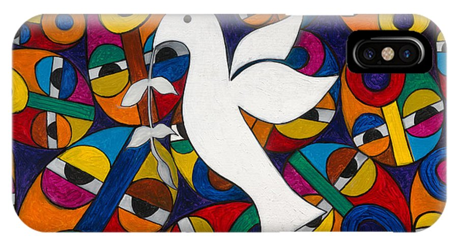 Dove IPhone Case featuring the painting Peace On Earth by Emeka Okoro