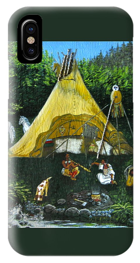 American Indians IPhone X Case featuring the painting Peace Smoke At Sundown by V Boge