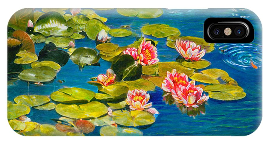 Water Lilies IPhone X Case featuring the painting Peaceful Belonging by Michael Durst