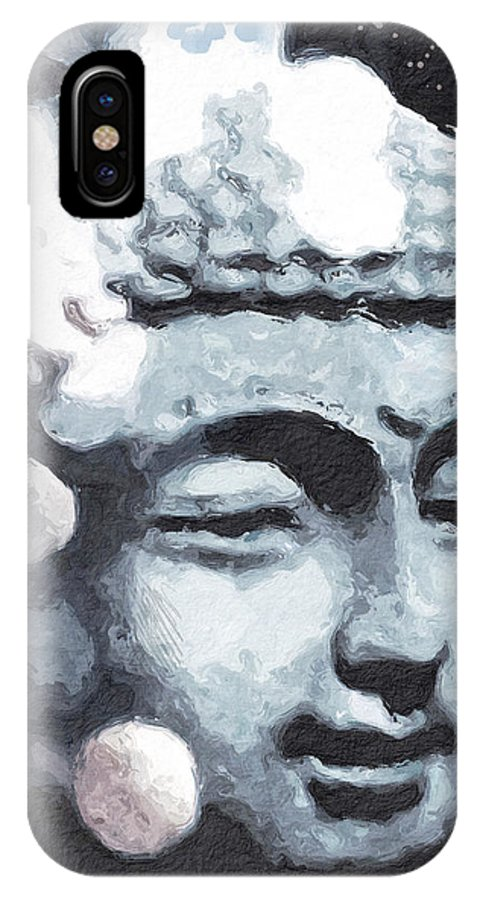 Buddha IPhone X Case featuring the digital art Peaceful Buddha 3- Art By Linda Woods by Linda Woods