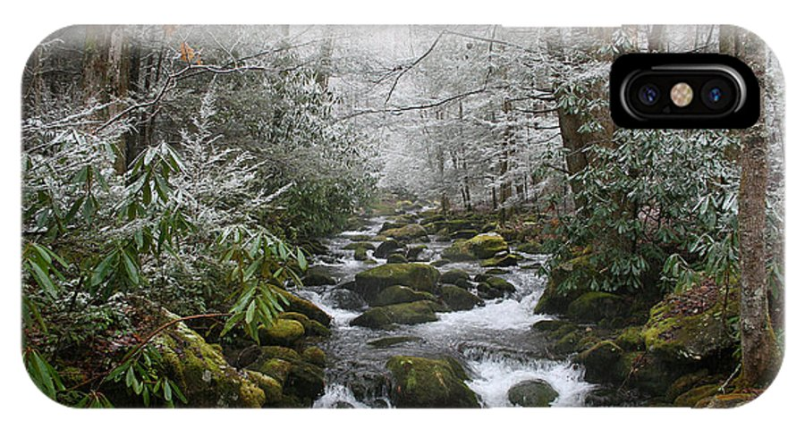 Forest Wood Woods Nature Green White Snow Winter Season Creek River Stream Flow Rock Tree Rush IPhone X Case featuring the photograph Peaceful Flow by Andrei Shliakhau