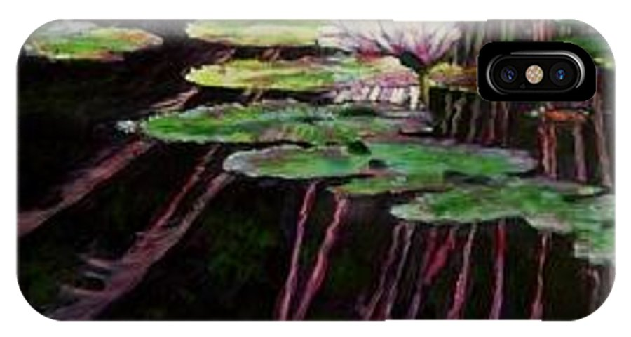 Quiet Pond With Water Lily And Reflections. Missouri Botanical Garden IPhone X / XS Case featuring the painting Peaceful Reflections by John Lautermilch