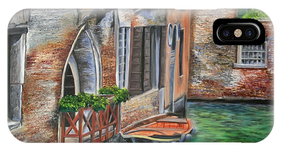 Venice Paintings IPhone X Case featuring the painting Peaceful Venice Canal by Charlotte Blanchard