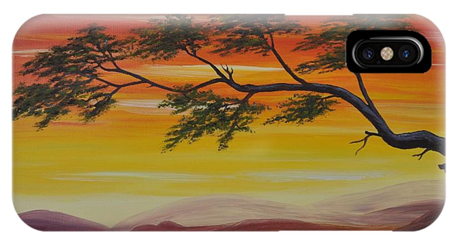 Sunset IPhone X Case featuring the painting Peacefulness by Georgeta Blanaru