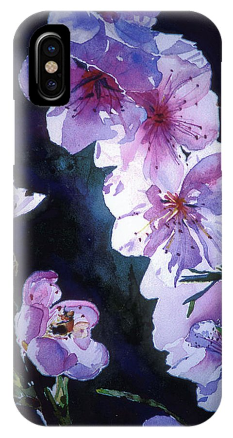 Peach Blossoms IPhone X / XS Case featuring the painting Peach Blossoms by Linda Pullinsi