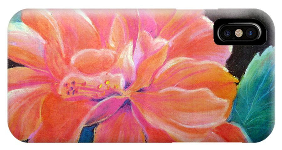 Flower IPhone X Case featuring the pastel Peach Double Hibiscus by Susan Kubes
