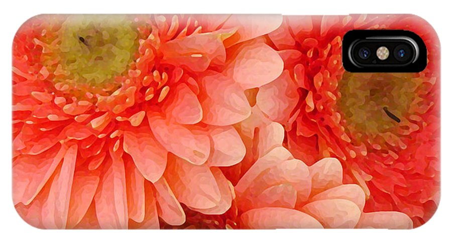 Floral IPhone Case featuring the painting Peach Gerbers by Amy Vangsgard