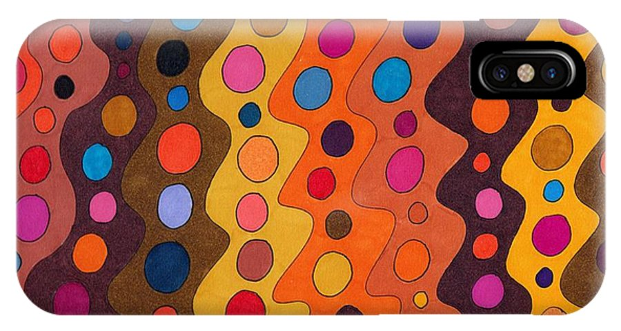 Abstract Multicolor Red Yellow Brown Orange Stripes Circles Fun Decor Wall Art Susan Epps Oliver IPhone Case featuring the drawing Peachy by Susan Epps Oliver