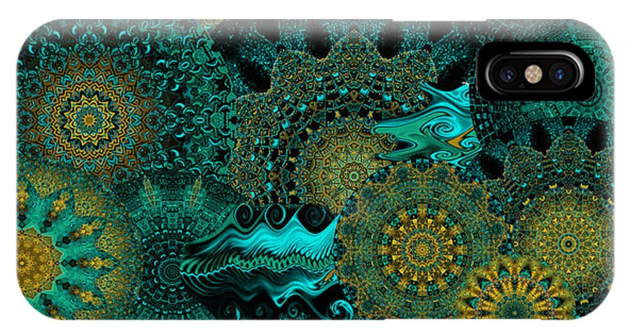 Kaleidoscope IPhone Case featuring the digital art Peacock Fantasia by Charmaine Zoe