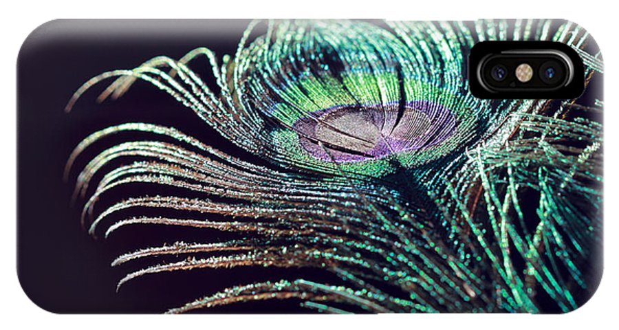 Peacock Feather IPhone X Case featuring the photograph Peacock Feather With Dark Background by Angela Murdock