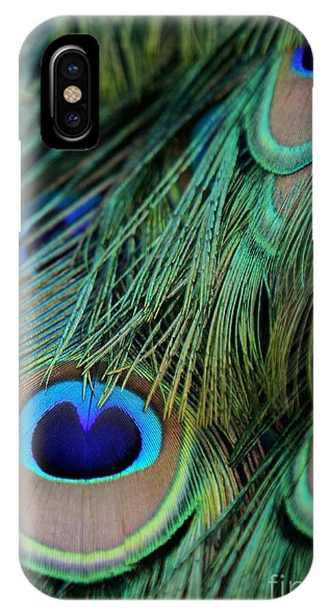 Feather IPhone X Case featuring the photograph Peacock Feathers by Sabrina L Ryan