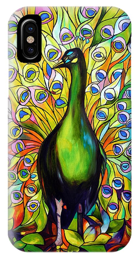 Bird IPhone X Case featuring the painting Peacock by Jose Manuel Abraham