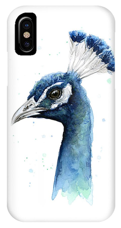Watercolor Peacock IPhone X Case featuring the painting Peacock Watercolor by Olga Shvartsur