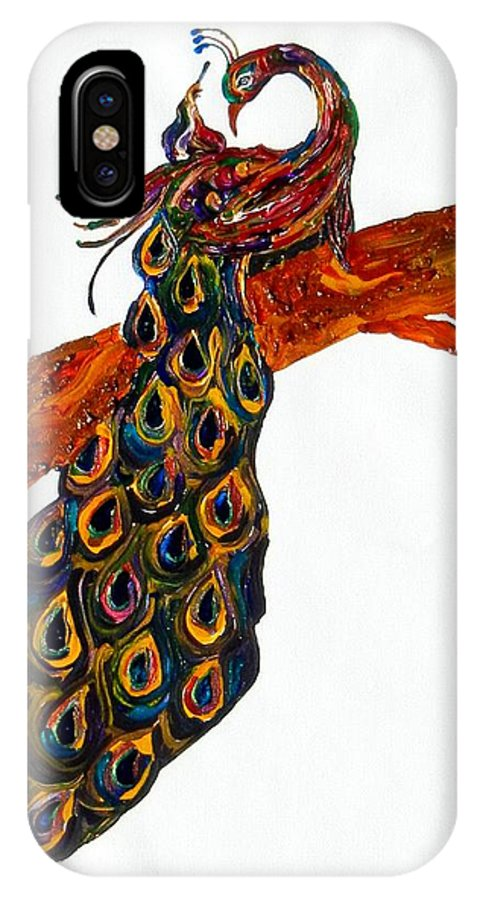 Peacock IPhone X Case featuring the painting Peacock Xiii by Kruti Shah