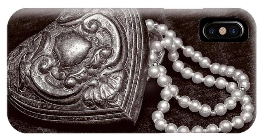 Pewter IPhone X Case featuring the photograph Pearls From The Heart - Sepia by Christopher Holmes