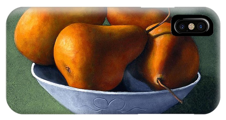 Still Life IPhone X Case featuring the painting Pears In Blue Bowl by Frank Wilson