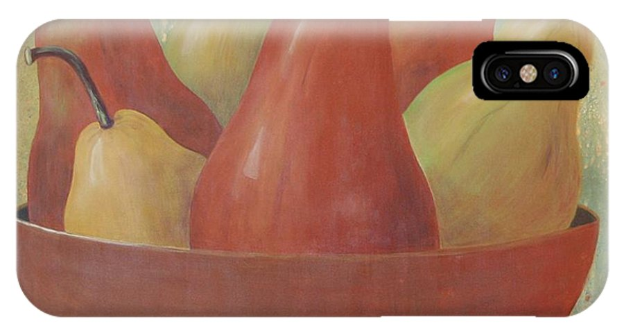Pears IPhone X Case featuring the painting Pears In Copper Bowl by Jeanie Watson