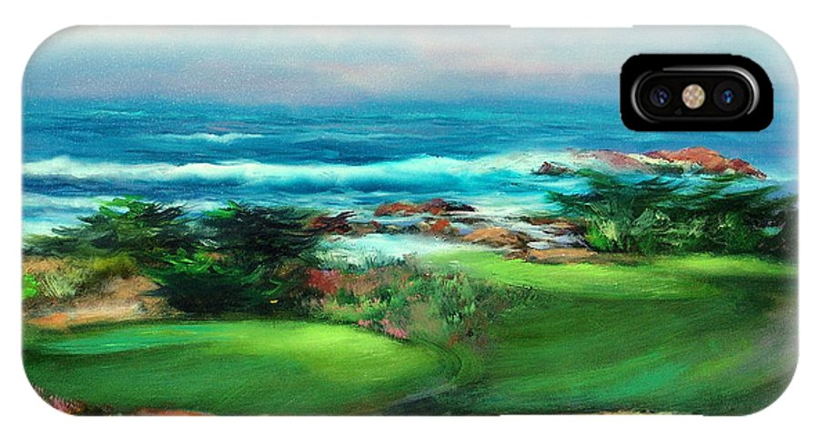 Golf Course IPhone Case featuring the painting Pebble Beach by Sally Seago