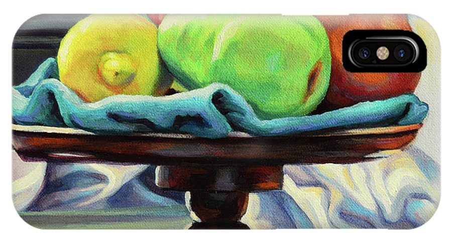 Fruit IPhone X Case featuring the painting Pedestal by Kenneth Cobb
