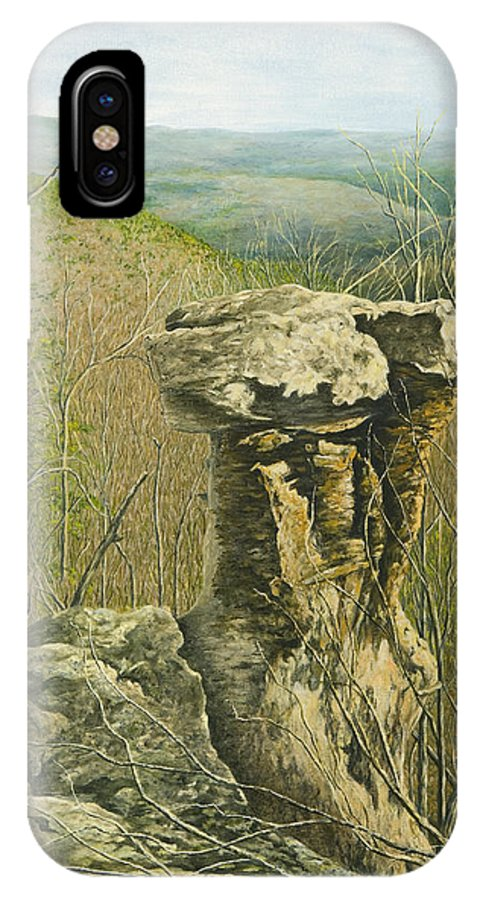 Arkansas Painting IPhone X Case featuring the painting Pedestal Rock by Mary Ann King