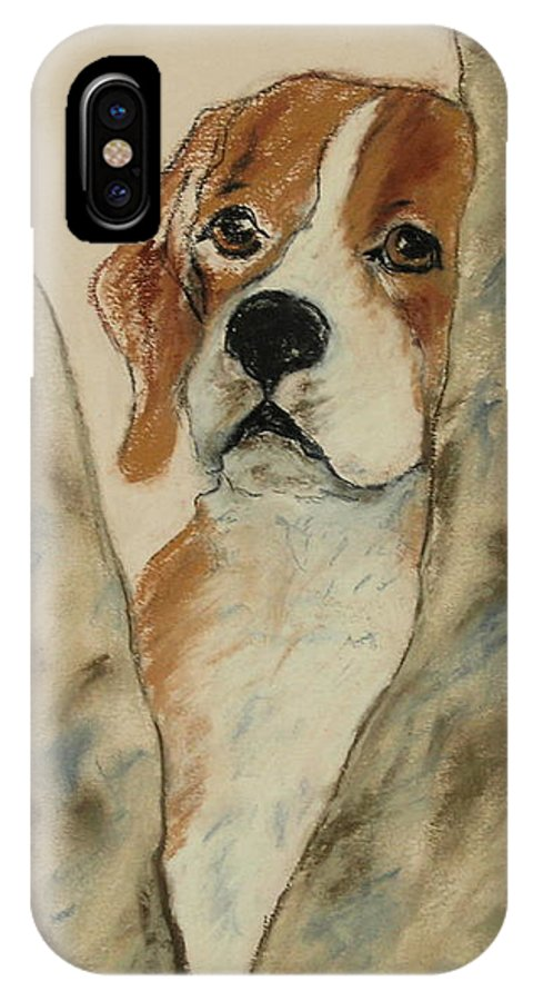 Beagle IPhone X Case featuring the drawing Peek A Boo by Cori Solomon