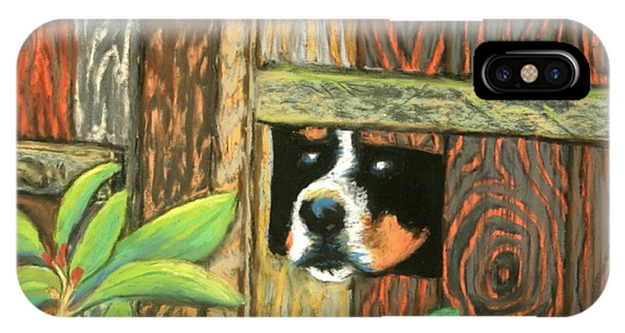 Dog IPhone X Case featuring the painting Peek-a-boo Fence by Minaz Jantz