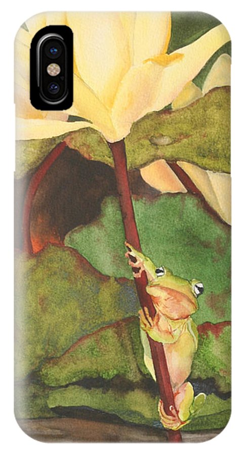 Frog IPhone X Case featuring the painting Peeping Tom by Jean Blackmer