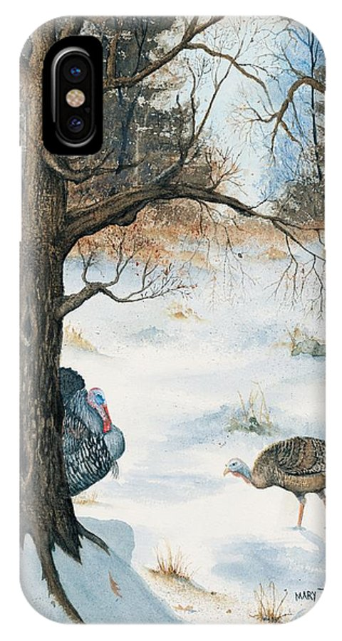 Turkey IPhone X Case featuring the painting Peeping Tom by Mary Tuomi