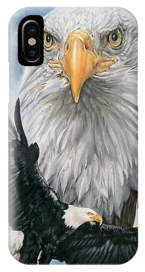 Bald Eagle IPhone X Case featuring the mixed media Peerless by Barbara Keith