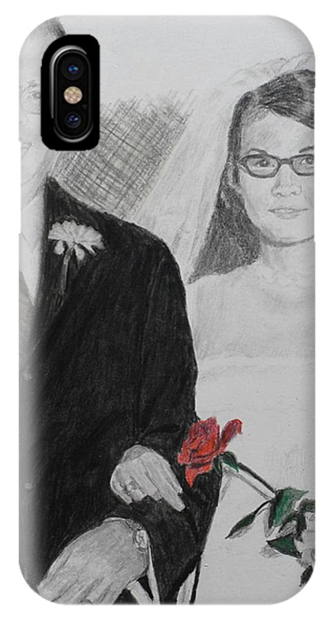 Wedding IPhone X Case featuring the painting Peggy And John Taylor Wedding Portrait by Quwatha Valentine