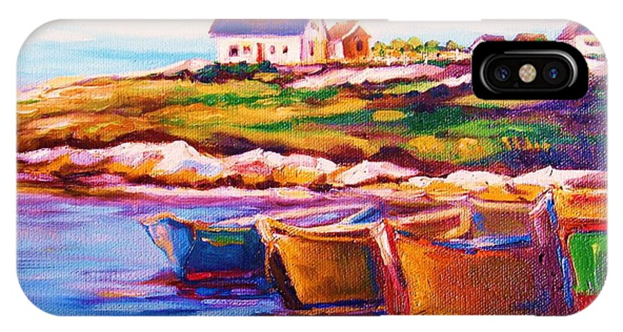 Row Boats IPhone Case featuring the painting Peggys Cove Four Row Boats by Carole Spandau