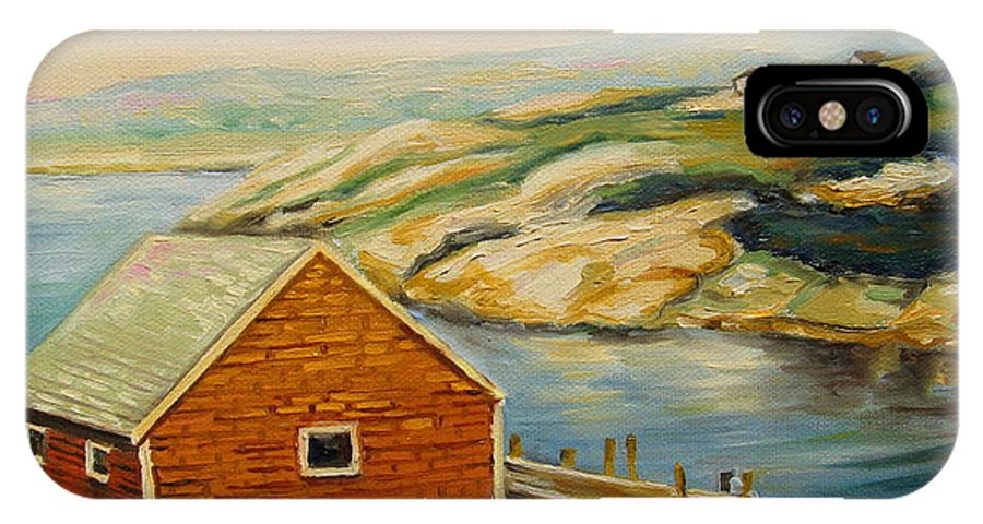 Peggy's Cove Harbor View IPhone Case featuring the painting Peggys Cove Harbor View by Carole Spandau