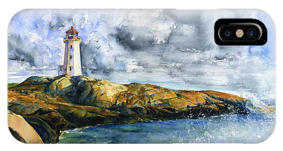 Lighthouse IPhone X Case featuring the painting Peggy's Cove Lighthouse Landscape by John D Benson