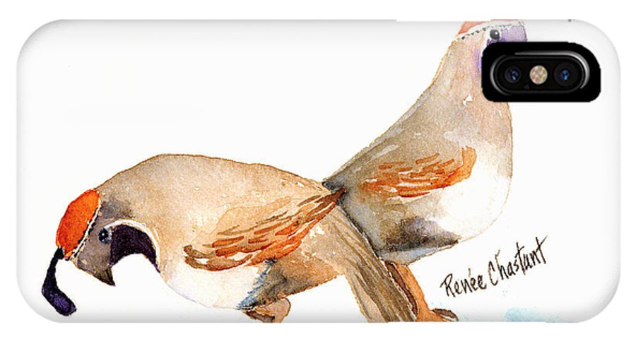 Quail IPhone X Case featuring the painting Peggy's Quail by Renee Chastant