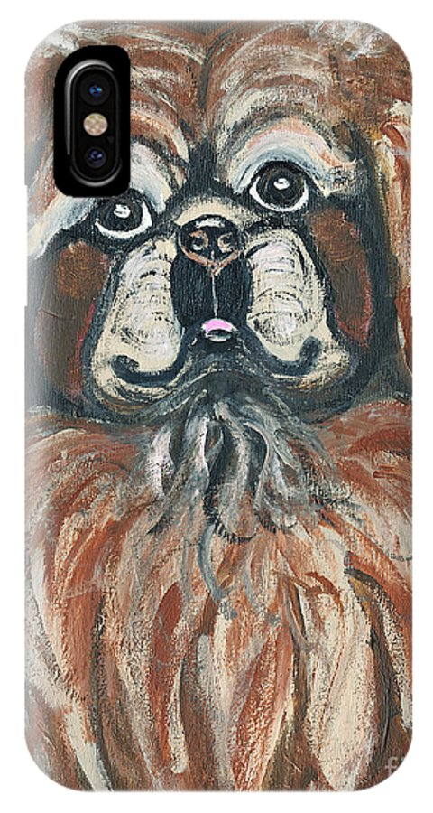 Pekingese IPhone X / XS Case featuring the painting Peke For You by Ania M Milo