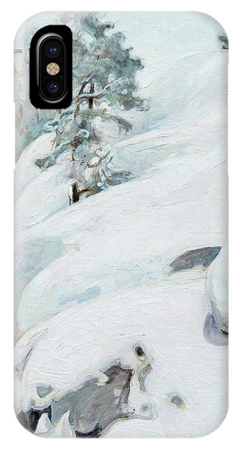 Winter IPhone X Case featuring the painting Pekka Halonen, Winter Landscape by Pekka Halonen